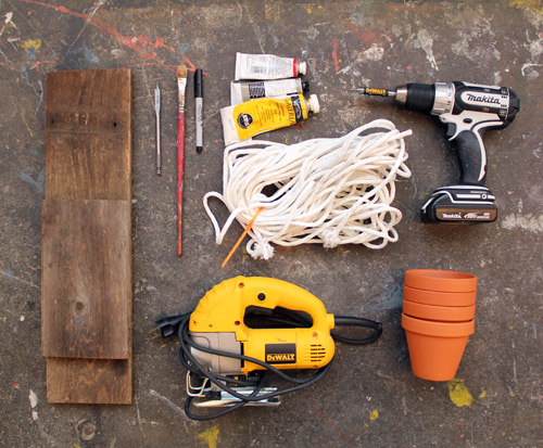 DIY- Tiered Hanging Pots scrap wood rope paint woodworking tools easy quick simple diy plants watering2