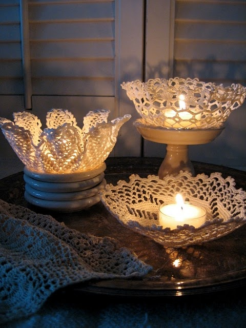 Decorating With Doilies - Take a Look at these Cute Ideas bowls pillows table runner starch easy diy budget vintage thrift store1