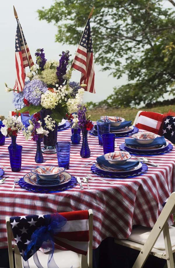 Get Inspired- Take a Look at These 10 Patriotic Outdoor Tables lantered checkered plaid navy napkins rustic diy easy budget8