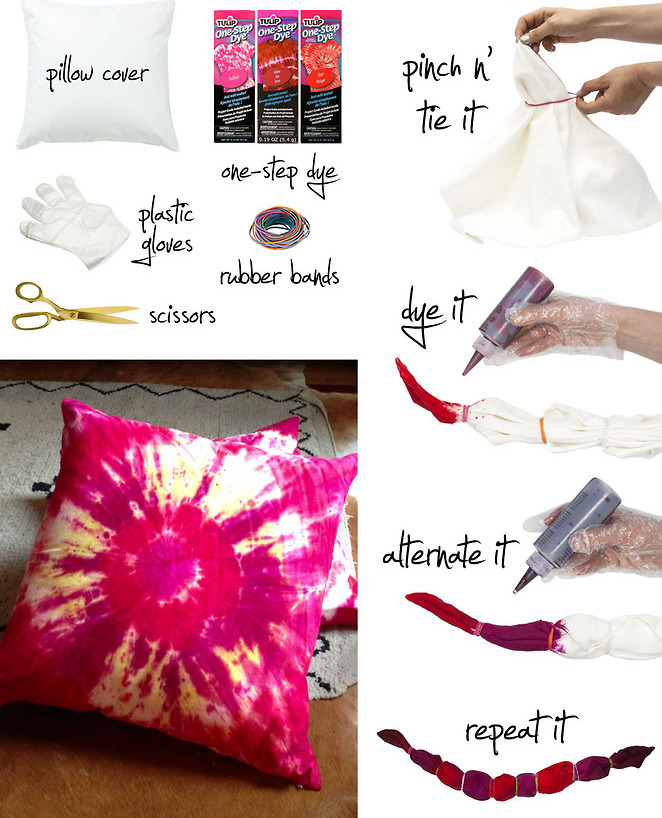 Make Your Own Pretty Tie Dye Pillows - It's So Easy and Fun! diy easy colorful fun 70s style grunge teen dorm kids fun project throw pillows reuse recycle old pillows2