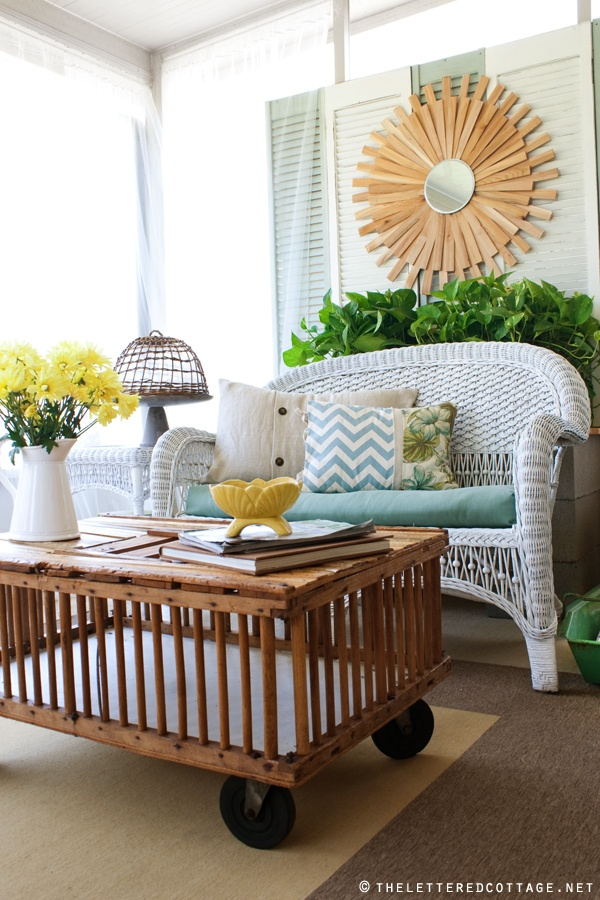 Porch Season - 7 Ideas to Spruce up Your Porch this Summer shabby chic diy reuse thrift store paint easy budget coffee table pillows cushions2