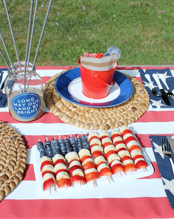 So Easy! Make these American Flag Party Fruit Skewers for July 4th party bbq picnic strawberries bananas blueberries snack healthy diet dessert easy2