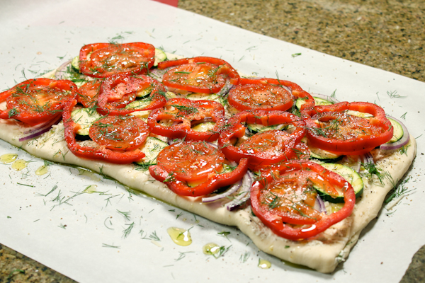 Great Summer Appetizer: Roasted Veggie Flatbread with Parmesan Cheese dill pepper onion vegetarian summer outdoor picnic roasted2.jpg