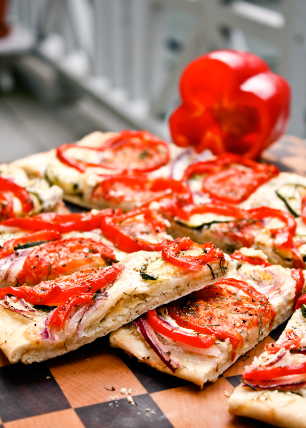 Great Summer Appetizer: Roasted Veggie Flatbread with Parmesan Cheese dill pepper onion vegetarian summer outdoor picnic roasted3.jpg