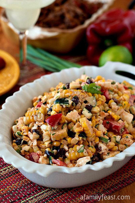 We Like it Hot - Mexican Jalapeno Corn Salad beans grilled bbq party outdoors picnic mexican peppers cheese zesty dressing easy salad light diet summer2