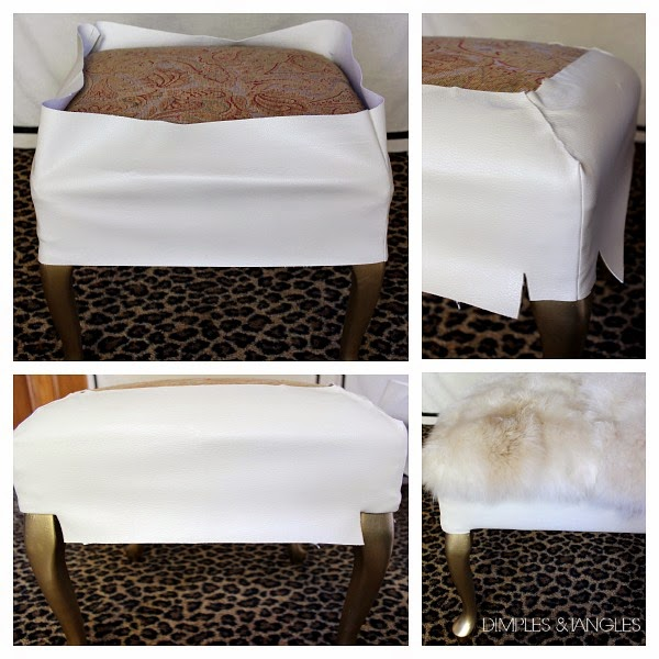 DIY- Salvage a Footstool and Make This Gorgeous Fur Ottoman2