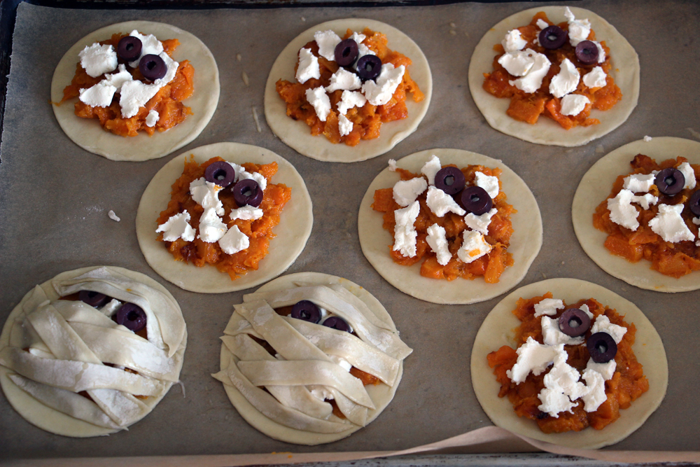 Halloween Recipe- Puff Pastry Butternut Squash and Cheese Tarts! olives goat cheese squash puff pastry10