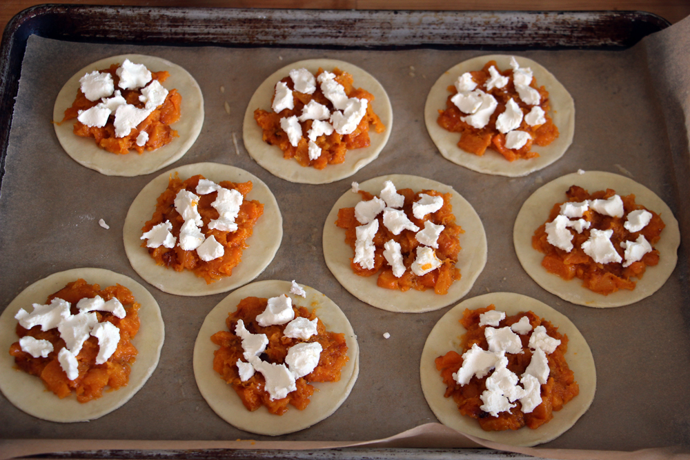 Halloween Recipe- Puff Pastry Butternut Squash and Cheese Tarts! olives goat cheese squash puff pastry7