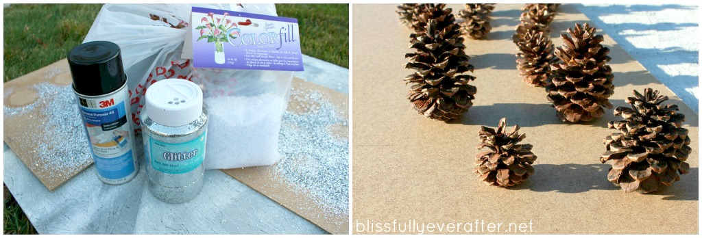DIY: Glittery Pottery Barn Pinecones budget dollar store glitter cheap easy natural rustic5