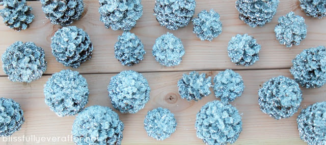 DIY: Glittery Pottery Barn Pinecones9