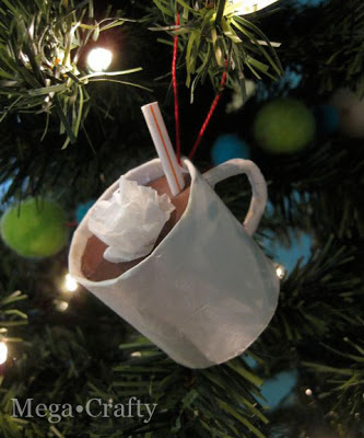 You Won't Believe How Easy it is to Make These Hot Chocolate Mug Ornaments! cardboard tube paper decor craft project holidays mug easy christmas tree1
