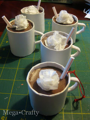 You Won't Believe How Easy it is to Make These Hot Chocolate Mug Ornaments! cardboard tube paper decor craft project holidays mug easy christmas tree37