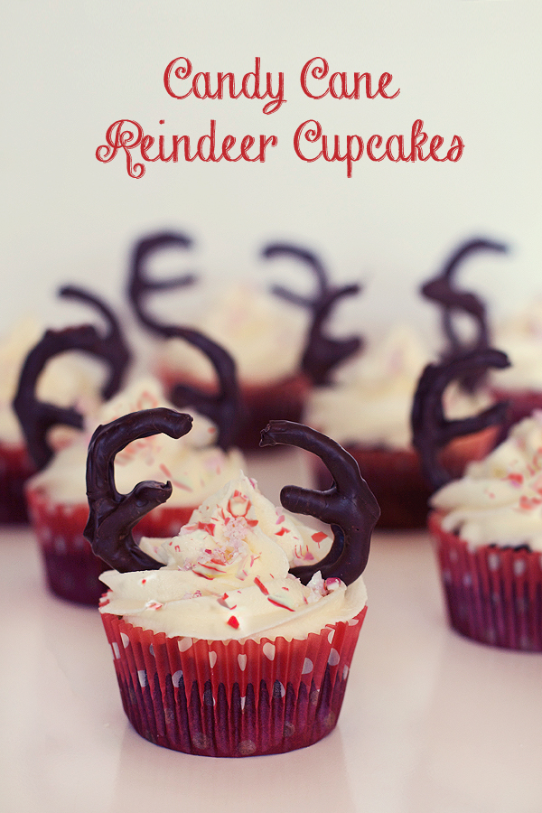 Devil's Food Reindeer Cupcakes With Peppermint Buttercream Topped With Crushed Candy Canes1