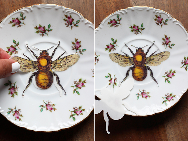 How to Jazz Up Flea Market Vintage Plates insect easy project thrift store budget cheap4
