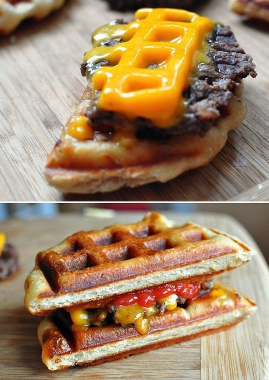 10 Different Ways You Can Use Your Waffle Iron - It's Not Just for Waffles Anymore! cheeseburgers brownies eggs sandwiches pizza pretzels hot dogs easy fast kids dorm cooking11