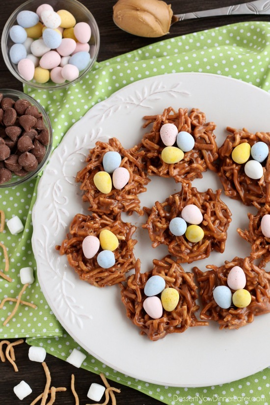 Super Easy Easter Nests Made With Peanut Butter, Chocolate, and Noodles!1