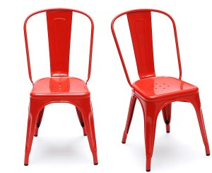 red industrial stacking chair