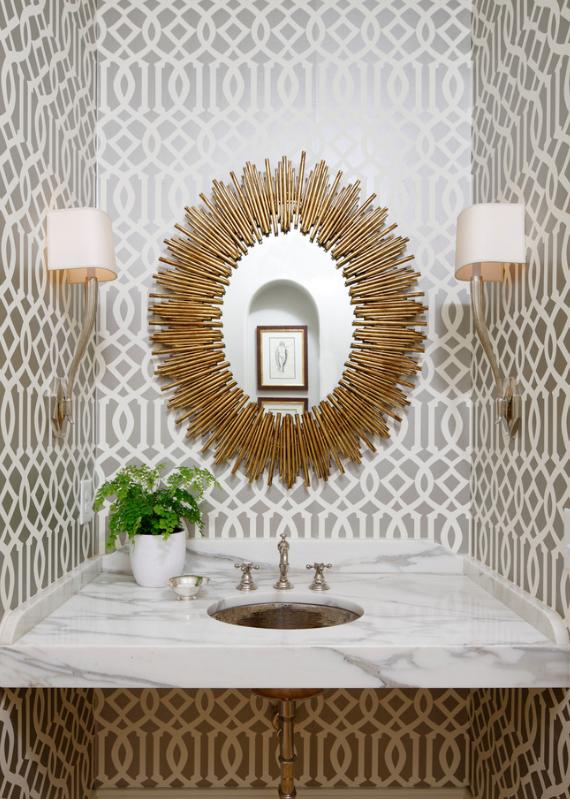 gold sunburst mirror bathroom decor