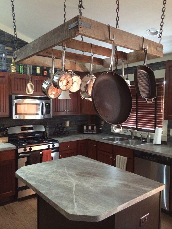 diy hanging pot rack kitchen ideas