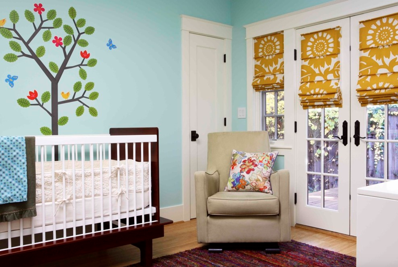 nursery room roman blinds kid child baby friendly decorating ideas