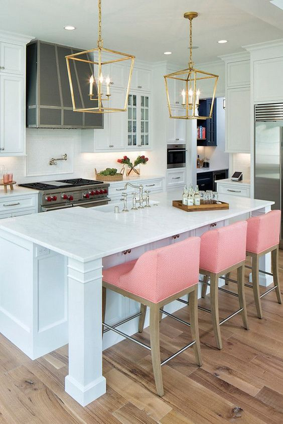 kitchen decorating ideas white and pink