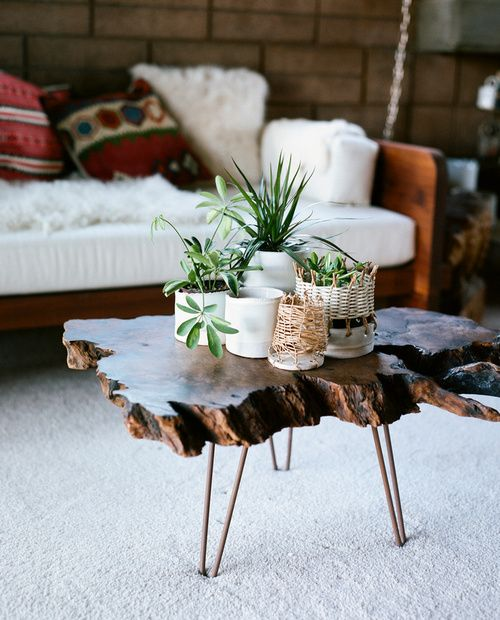 wood slab coffee tabled decorating ideas