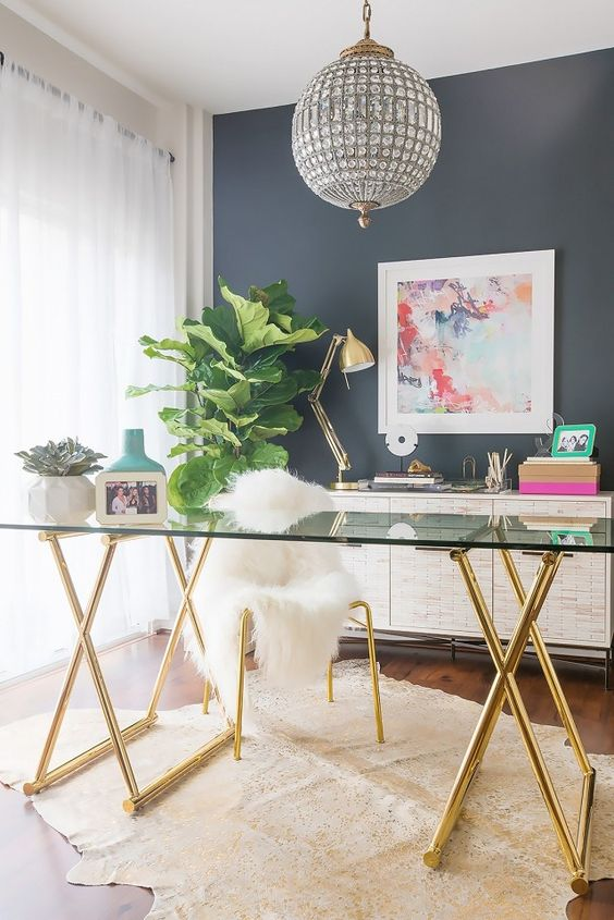 beautiful glamorous office decorating ideas gold brass glass desk