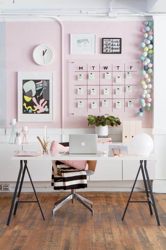 home office decor ideas pink wall ikea table legs