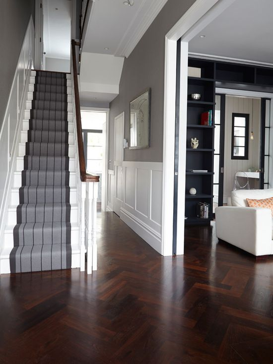 hallway reno dark wood floors update