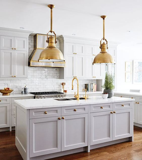 kitchen decorating ideas marble grey gold chandeliers