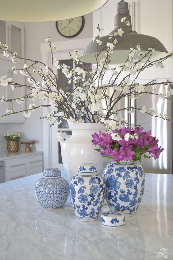 kitchen island flowers decorating ideas