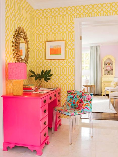 beautiful colorful yellow wallpaper pink decorating hallway office design ideas