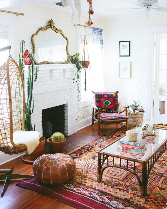bohemian living room leather poof