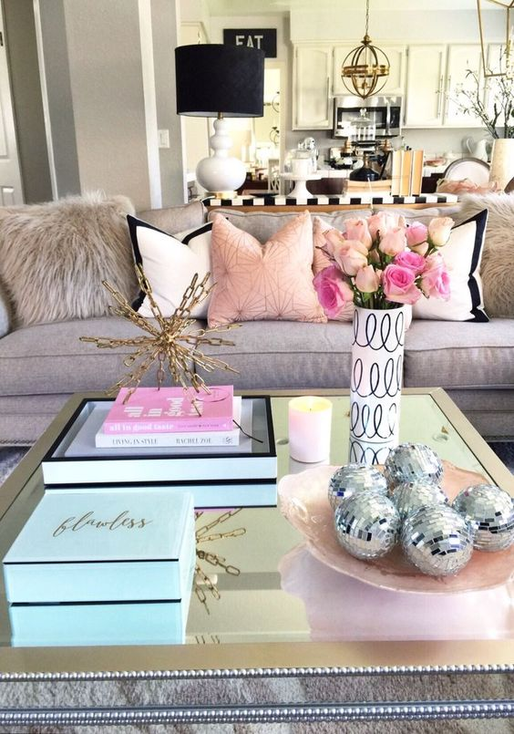 mirrrored coffee table decorating ideas girly