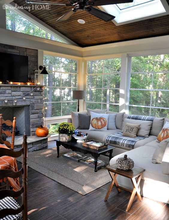 beautiful fall living room decor ideas plaid rustic decorating