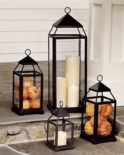 fall front porch entrance decorating ideas lanterns how to diy