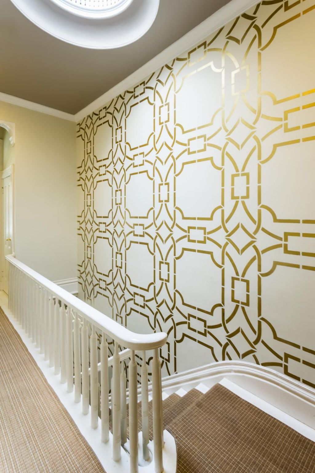 gold white cream wall painting techniques stencil ideas