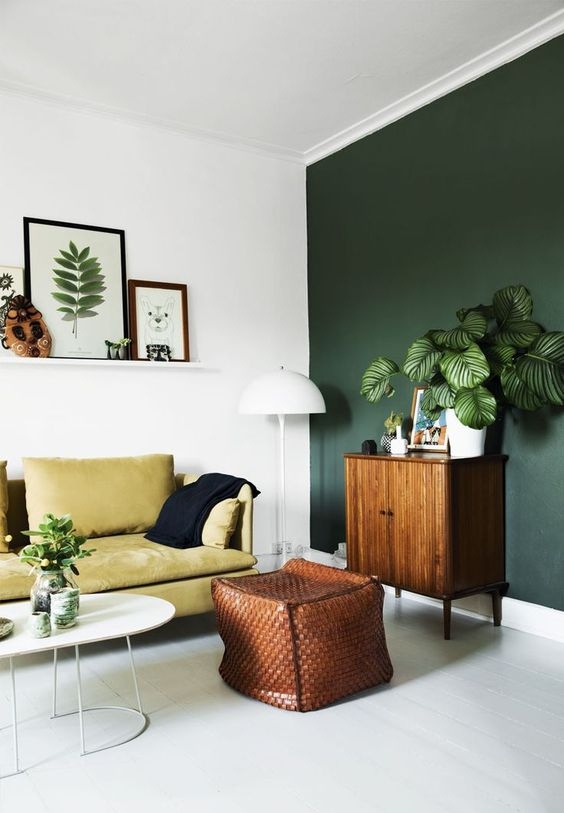 green statement wall decorating easy diy ideas