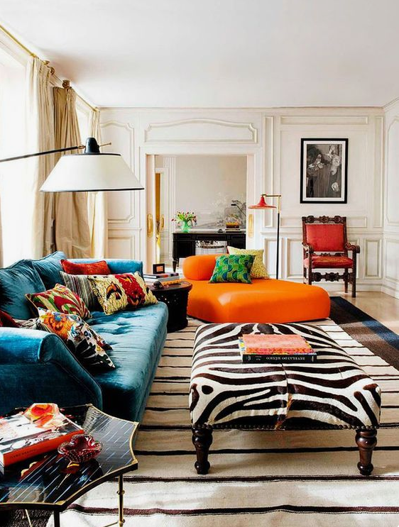 zebra ottoman fall living room decorating ideas