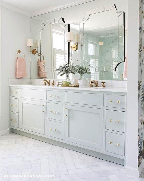 bathroom decorating ideas marble lucite handles
