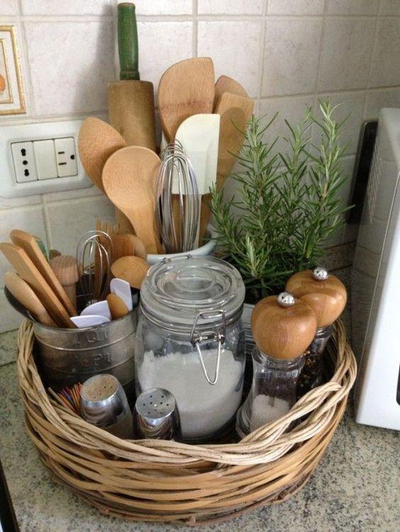 kitchen storage ideas basket of spices