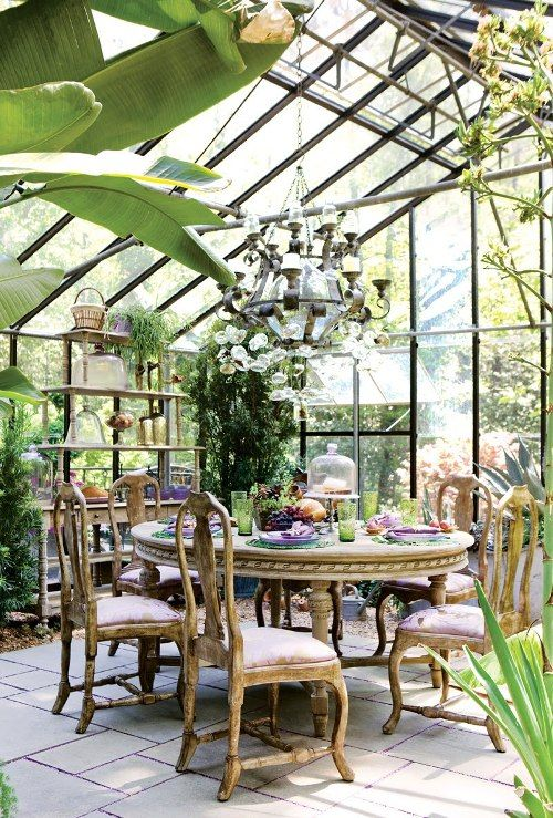 pretty greenhouse dining room decor ideas